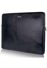 Czarne etui na laptopa Solier w paski, eleganckie