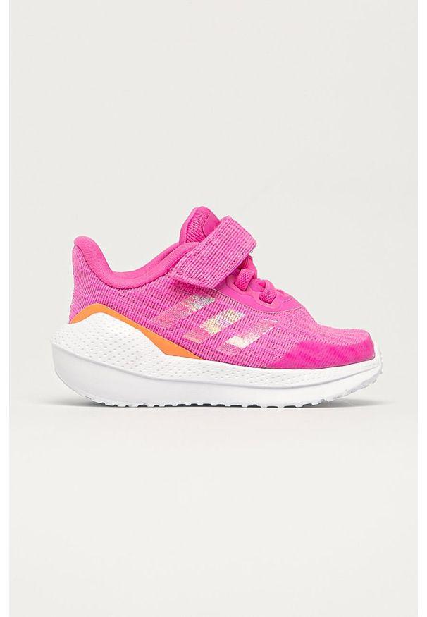 Różowe buty sportowe adidas Performance na rzepy, do biegania, z cholewką, z okrągłym noskiem