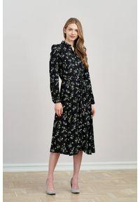 Czarna sukienka Marie Zélie gładkie, midi, elegancka