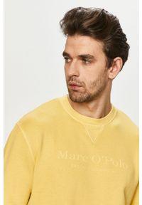 Marc O'Polo - Bluza bawełniana. Okazja: na co dzień. Typ kołnierza: polo. Kolor: żółty. Materiał: bawełna. Wzór: nadruk. Styl: casual
