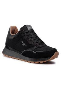 Czarne buty sportowe Pepe Jeans na co dzień, z cholewką