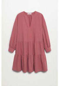 mango - Mango - Sukienka Diana. Kolor: różowy. Materiał: włókno. Długość rękawa: długi rękaw