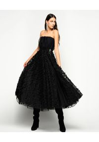 Czarna sukienka Pinko w kwiaty, rozkloszowana