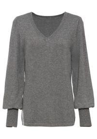 Sweter z balonowymi rękawami bonprix szary melanż. Kolor: szary. Materiał: dzianina. Wzór: melanż