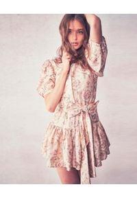 LOVE SHACK FANCY - Jedwabna sukienka Pearla. Typ kołnierza: kokarda. Kolor: beżowy. Materiał: jedwab. Wzór: nadruk, kwiaty, aplikacja. Styl: vintage. Długość: mini