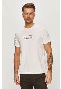 Biały t-shirt AllSaints casualowy, z nadrukiem, na co dzień