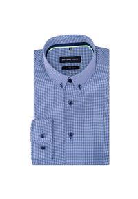 Niebieska koszula Giacomo Conti długa, w kratkę, z długim rękawem