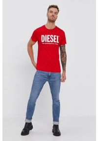 Diesel - T-shirt bawełniany. Okazja: na co dzień. Kolor: czerwony. Materiał: bawełna. Wzór: nadruk. Styl: casual