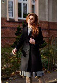 Marie Zélie - Płaszcz wełniany Debora czarny. Kolor: czarny. Materiał: wełna. Wzór: motyw zwierzęcy, ze splotem. Sezon: zima. Styl: klasyczny #10