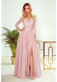 Sukienka wieczorowa Numoco maxi, w koronkowe wzory