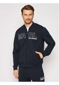 Karl Lagerfeld - KARL LAGERFELD Bluza Sweat Zip 705034 511902 Granatowy Regular Fit. Typ kołnierza: dekolt w karo. Kolor: niebieski