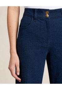 Luisa Spagnoli - LUISA SPAGNOLI - Bawełniane spodnie Attenzione. Stan: podwyższony. Kolor: niebieski
