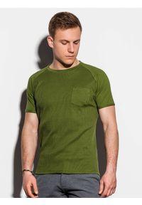 Oliwkowy t-shirt Ombre Clothing klasyczny