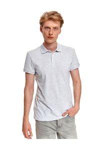 TOP SECRET - T-shirt polo męski z haftem. Typ kołnierza: polo. Kolor: szary. Wzór: haft
