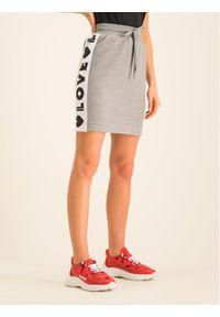 Love Moschino - LOVE MOSCHINO Spódnica mini W152401E 2117 Szary Regular Fit. Kolor: szary
