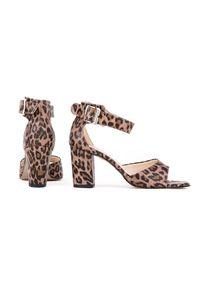 Sandały Zapato z motywem zwierzęcym, na słupku, wąskie
