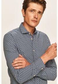 Pepe Jeans - Koszula Burton. Typ kołnierza: kołnierzyk włoski. Kolor: niebieski. Materiał: tkanina