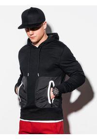Czarna bluza Ombre Clothing z kapturem, z aplikacjami