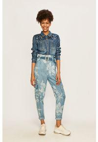 Niebieskie spodnie materiałowe Desigual casualowe, z podwyższonym stanem
