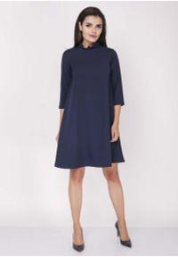 Niebieska sukienka z falbanami Nommo z falbankami, wizytowa