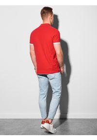 Ombre Clothing - Koszulka męska polo bawełniana S1382 - czerwona - XXL. Typ kołnierza: polo. Kolor: czerwony. Materiał: bawełna. Wzór: nadruk. Styl: klasyczny