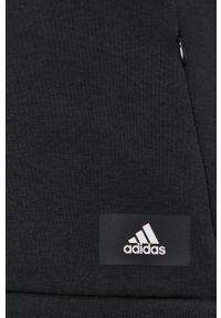 adidas Performance - Bluza. Kolor: czarny. Materiał: dzianina, materiał. Długość rękawa: raglanowy rękaw. Wzór: gładki