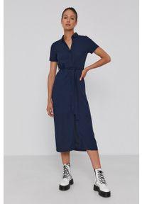Vero Moda - Sukienka. Okazja: na co dzień. Kolor: niebieski. Materiał: tkanina, wiskoza, materiał. Długość rękawa: krótki rękaw. Typ sukienki: proste. Styl: casual