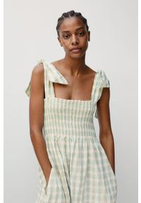 mango - Mango - Sukienka CECIL. Kolor: turkusowy. Materiał: tkanina, bawełna. Długość rękawa: na ramiączkach. Typ sukienki: rozkloszowane