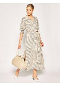 iBlues Sukienka koszulowa Ramarro 72210902 Beżowy Regular Fit. Kolor: beżowy. Typ sukienki: koszulowe