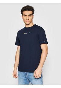 Tommy Jeans T-Shirt Multicolor Linear Logo DM0DM10890 Granatowy Regular Fit. Kolor: niebieski