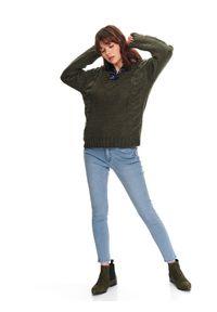 Zielony sweter TOP SECRET na wiosnę, z długim rękawem, długi, w kolorowe wzory