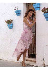 Sukienka asymetryczna IVON maxi, w kwiaty, z falbankami