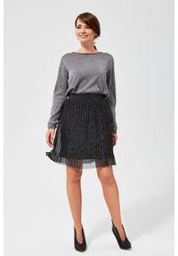 MOODO - Plisowana spódnica mini z metaliczną nitką. Materiał: tiul, poliamid, nylon. Wzór: gładki
