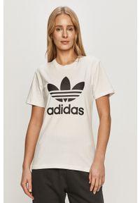 adidas Originals - T-shirt. Okazja: na co dzień. Kolor: biały. Materiał: dzianina. Wzór: nadruk. Styl: casual