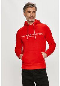 Czerwona bluza nierozpinana TOMMY HILFIGER na co dzień, z kapturem, casualowa