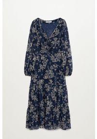 mango - Mango - Sukienka Moni. Kolor: niebieski. Materiał: tkanina. Typ sukienki: rozkloszowane