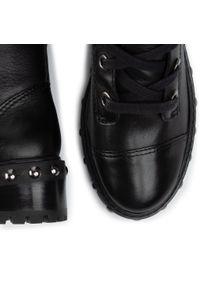 Czarne buty trekkingowe Schutz z aplikacjami, z cholewką