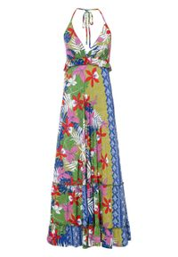Długa sukienka z dekoltem halter bonprix zielony w kwiaty. Typ kołnierza: dekolt halter. Kolor: zielony. Wzór: kwiaty. Długość: maxi