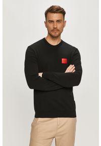 Czarny sweter Hugo długi, z długim rękawem, casualowy, na co dzień