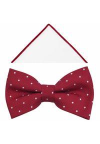 Modini - Czerwona muszka męska w białe kropki/groszki A371. Kolor: biały, wielokolorowy, czerwony. Materiał: tkanina, poliester. Wzór: kropki, grochy. Styl: elegancki
