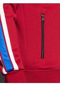 Ombre Clothing - Bluza męska rozpinana bez kaptura B975 - czerwona - XXL. Typ kołnierza: bez kaptura. Kolor: czerwony. Materiał: dresówka, dzianina, poliester. Wzór: ze splotem. Sezon: lato. Styl: retro