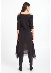 Sukienka TwinSet asymetryczna, w koronkowe wzory, na ramiączkach
