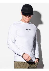 Biała bluza Ombre Clothing bez kaptura, z nadrukiem