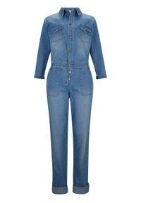 Kombinezon dżinsowy ze stretchem, rękawy 3/4 bonprix jasnoniebieski. Kolor: niebieski