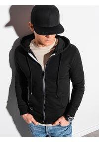 Ombre Clothing - Bluza męska rozpinana z kapturem B1223 - czarna - XXL. Typ kołnierza: kaptur. Kolor: czarny. Materiał: poliester, bawełna
