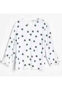 Reserved - Bluzka w groszki - Kremowy. Kolor: kremowy. Wzór: grochy