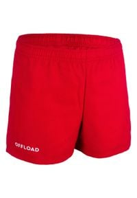 OFFLOAD - Spodenki do rugby R100 dla dzieci. Kolor: czerwony. Materiał: poliester, materiał. Długość: krótkie