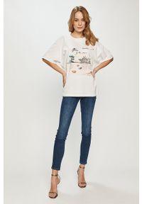 Biała bluzka Trussardi Jeans z nadrukiem, casualowa