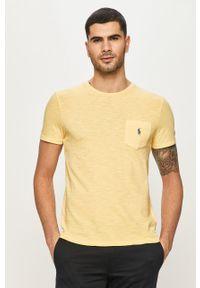Żółty t-shirt Polo Ralph Lauren na co dzień, casualowy, polo
