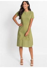Zielona sukienka bonprix z krótkim rękawem, z okrągłym kołnierzem